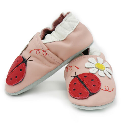 carozoo ladybug flower pink 2-3y new soft sole leather toddler shoes