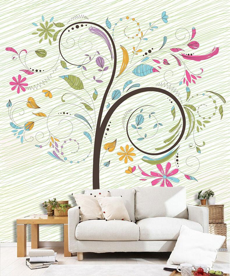 3D Floraison Arbres.Photo Papier Peint en Autocollant Murale Plafond Chambre Art