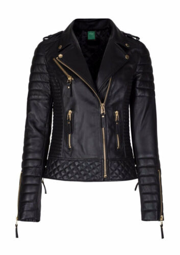 Jacket Designer Leather Lambskin Biker Women's Slim Genuine Motorcycle Fit 8fPqawH