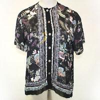 Citron Clothing Plus Size Sheer Floral Birds Print Button Down Blouse 2x