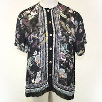 Citron Clothing Plus Size Sheer Floral Birds Print Button Down Blouse 2x