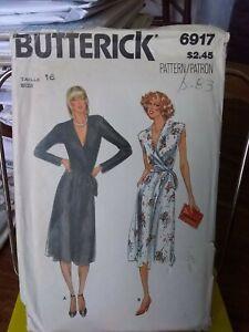 Oop-Butterick-6917-misses-dress-wrap-bodice-full-skirt-sz-16-UNCUT