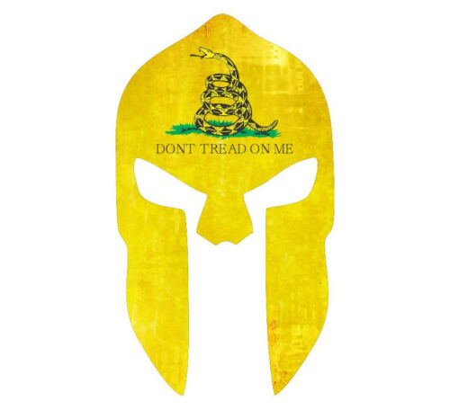 Spartan Head Don/'t Tread on Me Various Sizes Yellow Snake Style decal