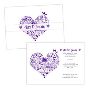 Personalised-day-evening-wedding-invitations-FLORAL-SWIRL-HEART-PURPLE-WHITE-FRE