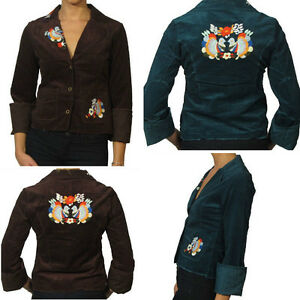 Doki-Geki-Brown-Blue-Teal-Corduroy-Casual-Embroidered-Jacket-Blazer-Top-M-L-NEW