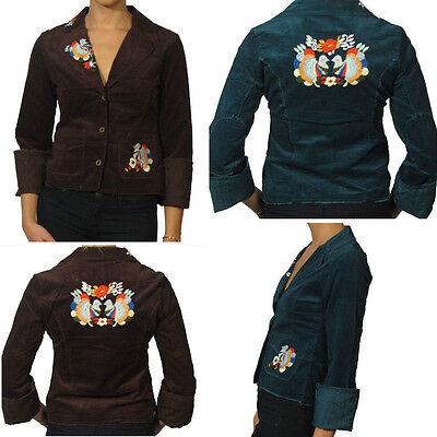 Doki-Geki Brown Blue Teal Corduroy Casual Embroidered Jacket Blazer Top M L NEW