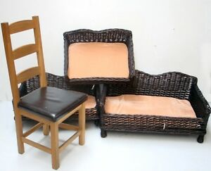 giant huge big xl wicker pet bed basket sofa couch with padded cushion ebay. Black Bedroom Furniture Sets. Home Design Ideas