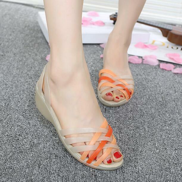 HOT Womens wedge sandals open toe toe open jelly colorful hollow up summer shoes N282 5382a6