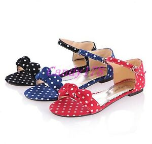 Fashion-Womens-Open-Toe-Polka-Dot-Bowtie-Sandals-Flats-Ankle-Strap-Casual-Shoes
