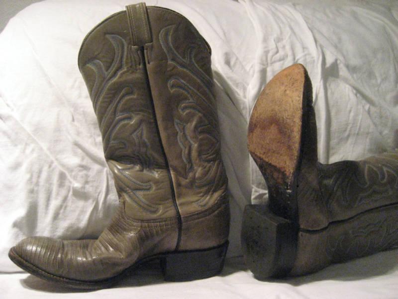 TONY LAMA WESTERN BOOTS  Taupe Lizard Size 8 D