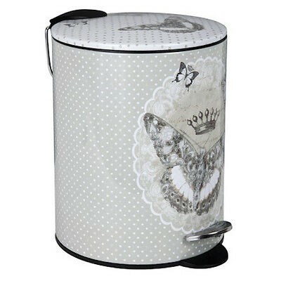 Shabby Chic Luxury French Metal White 5L Bathroom Pedal Dust Bin Butterfly Roses