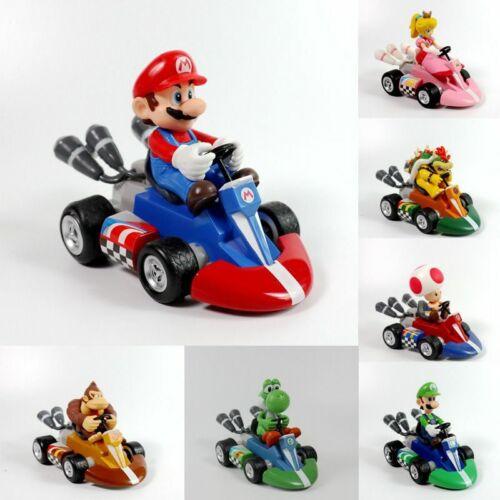 SUPER Mario Wii Luigi Princess 12cm PULL BACK RACER Go Kart Auto Giocattolo NATALE