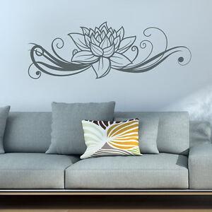 Wandtattoo-Lotus-Blume-Bluete-Ranke-Aufkleber-Wall-Art-Wand-Tattoo-2098