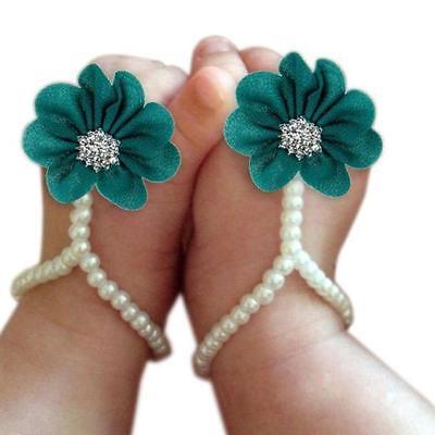 1Pair Infant Pearl Chiffon Barefoot Toddler Foot Flower Beach Sandals