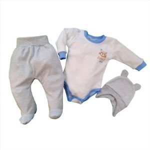 BNWT-Baby-Infant-Boys-3-Pcs-Set-Outfit-Bodysuit-Trousers-Hat-3-6-6-9-Months