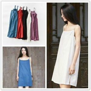 Lady-Cotton-Linen-Slip-Dress-Strappy-Sleeveless-Petticoat-Midi-Retro-Plain-Tee