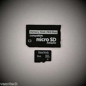 Memory-Stick-PRO-Duo-Adapter-Sandisk-8GB-microSD-SDHC-fuer-SONY-Geraete-PSP-NEU