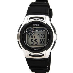 Casio-Men-039-s-Sports-Digital-50m-Dual-Time-Resin-Black-Watch-W213-1A