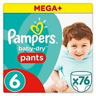 76 Pampers Baby Dry Pants Size 6 Extra Large 15 Kg