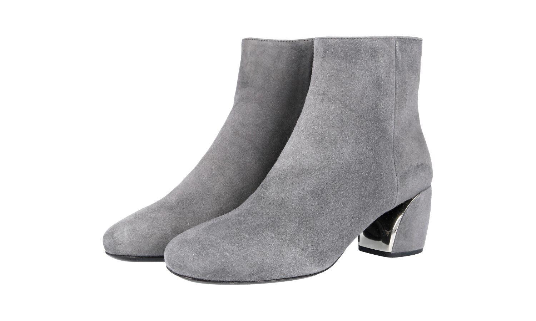 Bota al tobillo zapatos Prada de autenticación de lujo 1T850G ante gris 36,5 37 Reino Unido 3.5