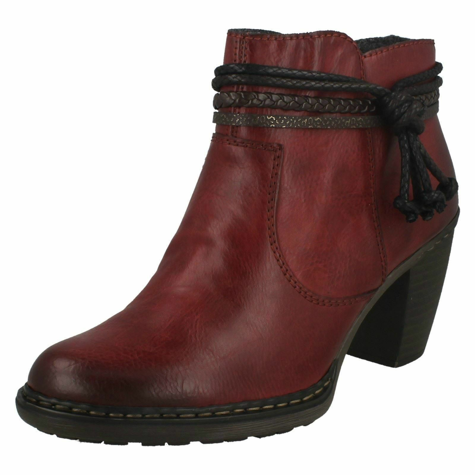 Ladies Rieker 55298 Red Casual Warm Lined Heeled Ankle Boots