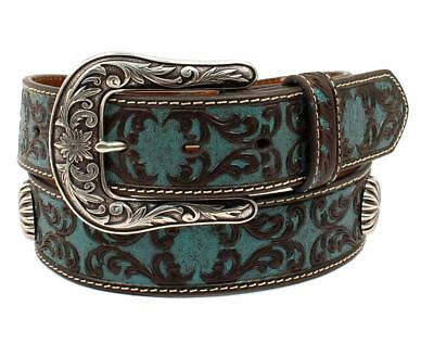 Ariat Western Damen Gürtel Leder Scrolling Muster Conchos blau A1527027 | eBay