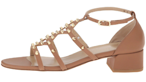 Stuart Weitzman Warrior Brown Leather Studded Sandals 7065 Size 9 M
