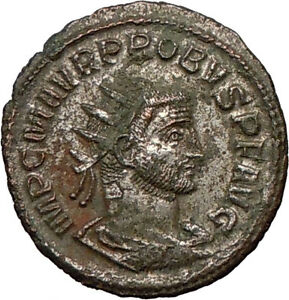PROBUS-278AD-Authentic-Ancient-Silvered-Roman-Coin-Orbis-w-wreath-Probus-w-globe