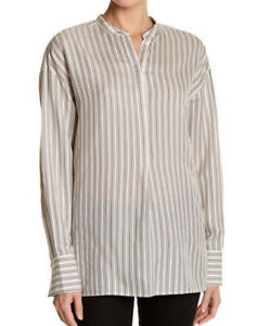 7c9bd1e2b4c2e  345 NWT VINCE WOMEN S STRIPED SILK LONG SLEEVE TUNIC sz XS