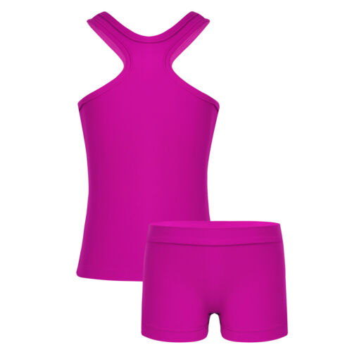 Girls Kids 2-Piece Active Set Dance Sport Outfits Crop Tops+Booty Bottoms Suit