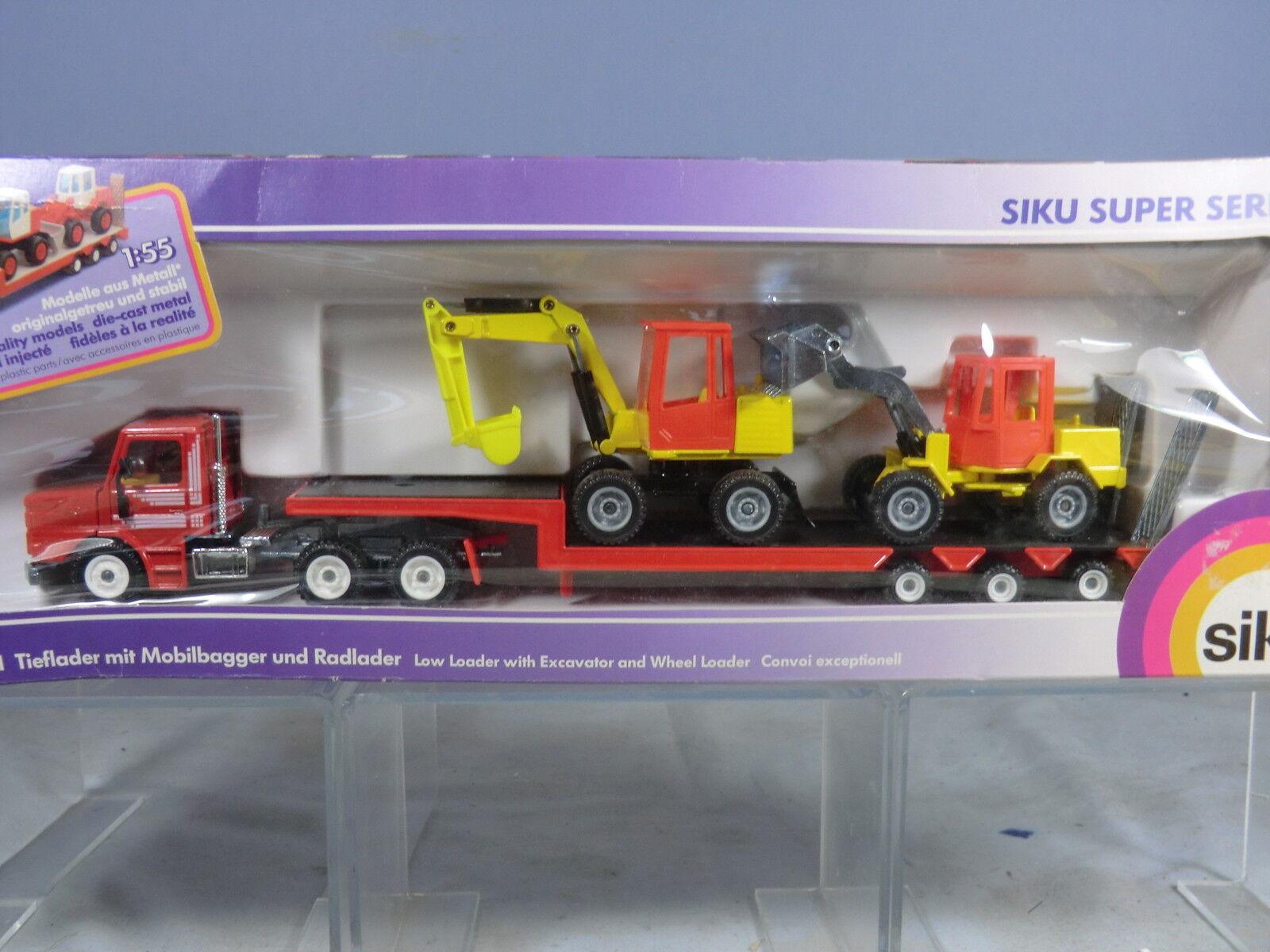 Siku Modello No.3911 Scania Low Loader Con Escavatore & Pala Gommata Nuovo di zecca con scatola