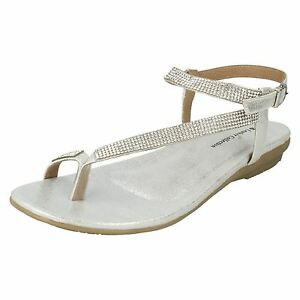 0010df443a17 Image is loading SALE-LEATHER-LINED-COLLECTION-LADIES-SILVER-DIAMANTE-TOE-