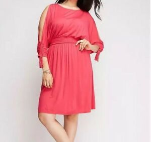 Lane-Bryant-Plus-Size-22-24-Cold-Shoulder-Pink-Jersey-Day-Dress