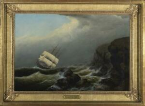 Listed Artist Clement Drew Oil on Canvas Square Rigged Ship High Seas Painting