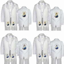 6pc Baptism Christening White Easter Tuxedo Suit Santa MaryVirgin Mary Stole