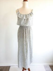 Sportsgirl-Size-6-Grey-Patterned-Strappy-Maxi-Lightweight-Dress-Women-039-s-Casual