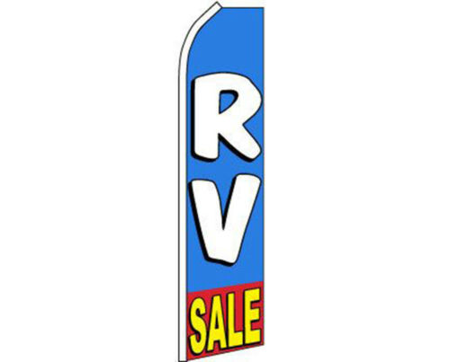 Yellow Swooper Super Feather Advertising Flag White Red RV Sale Blue