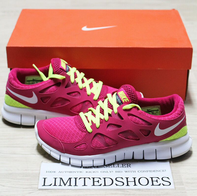 WMNS NIKE FREE RUN 2 BRIGHT CRIMSON WHITE VOLT 443816-617 US 6.5 WOMENS red pink