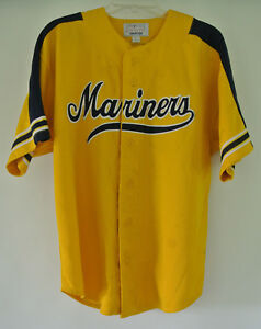 on sale 4091b 3b7b8 Details about RARE Vintage Seattle Mariners Yellow MLB Starter Script  Throwback Jersey Size L