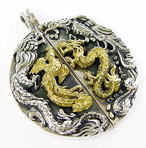 Japanese gold dragon phoenix bird sterling 925 silver japan mens la imagen se est cargando japones dragon de oro plata esterlina 925 ave aloadofball Image collections