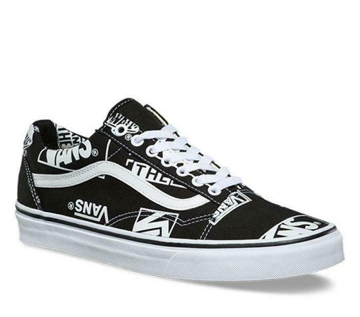 Vans OLD SKOOL - Logo Mix shoes (NEW) Mens Size 6.5-13 BLACK WHITE Free Shipping