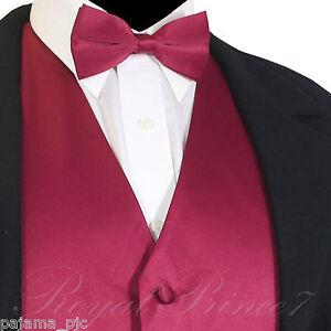 Burgundy Mens Men Vest Waistcoat And Straight Cut Bow Tie Tuxedo