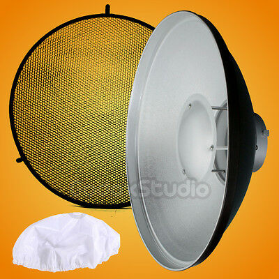 "Pro 42cm / 16"" Studio Beauty Dish  Bowens Mount + Honeycomb Grid + Diffuser Sock"