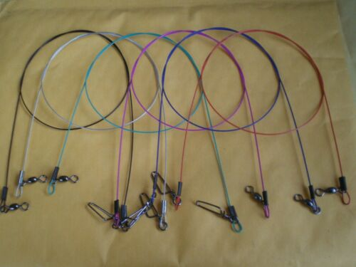 """WIRE SPINNER LEADER 6/"""" 100 LBS TEST W//COASTLOCK SNAP//MULTICOLOR PACK 15 PCS S.S"""