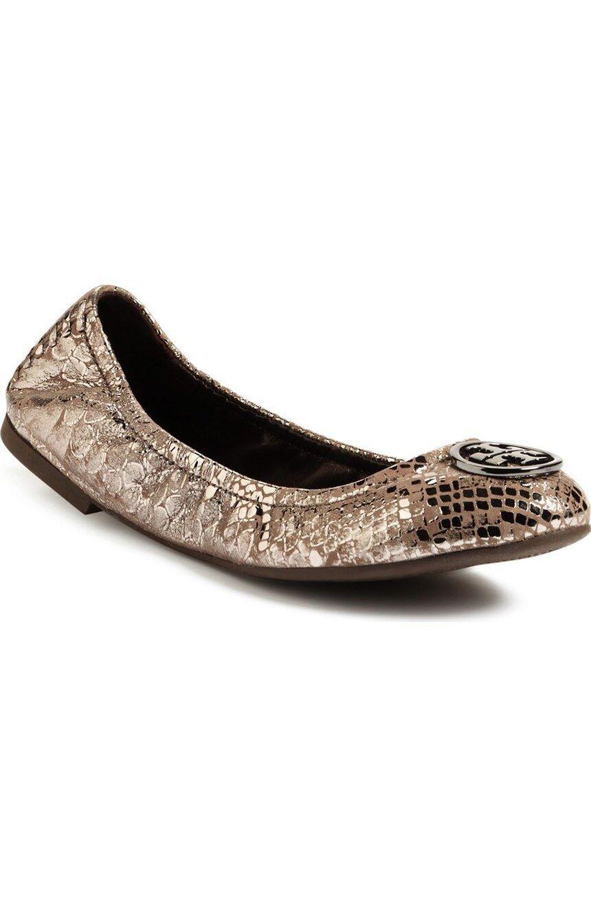 NIB  250 Tory Burch HEIDI Ballet Flat shoes Pewter Snake Print Logo Sz 6 Women's