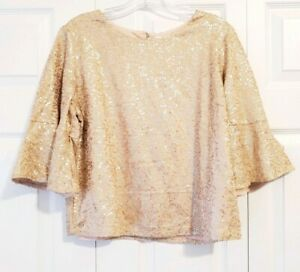 NWT-ANTHRO-REATH-amp-WREN-womens-size-M-rose-gold-bell-sleeve-sequined-blouse-top