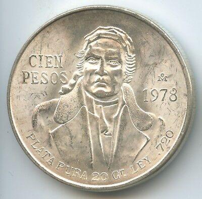 1978 100 Pesos Mexico 0.643oz Silver BU//AU Coin