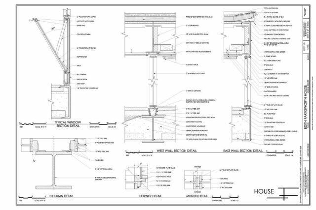 Mies van der Rohe modern design, Farnsworth House, architectural drawings