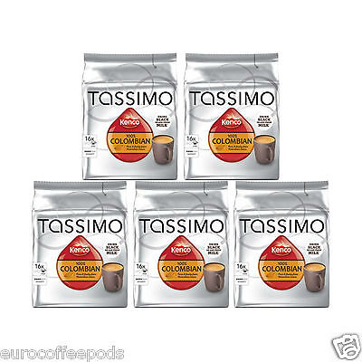 Tassimo Kenco Colombian Coffee t-discs Pods Capsules 5 Packs 80 t disc 80 Drinks