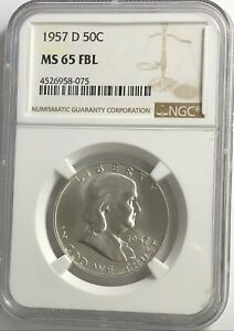 1957-D-NGC-MS65-FBL-FRANKLIN-HALF-DOLLAR-WHITE-COINS-90-SILVER-FULL-BELLS-LINE